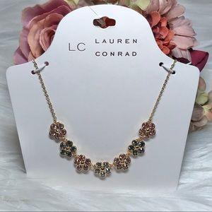 Lauren Conrad Sparkly Multi Flower Necklace NWT